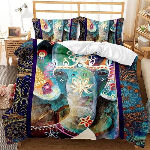 QQMHG Juego de cama 3D bohemio para niña con diseño de elefante, funda nórdica de 135 x 200 cm y 1 funda de almohada de 50 x 75 cm (A-5,200 x 200 cm + 2 x 50 x 75 cm)
