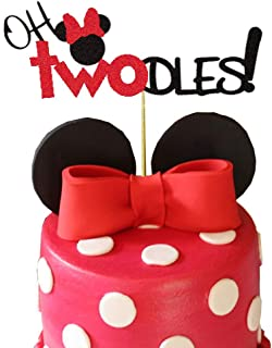 Minnie Mouse Second Birthday Cake Topper,Oh Two Dles Birthday Party Supplies Decorations For Girl(Red)
