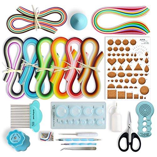 JUYA Papier Quilling-Kit QK13 mit 960 Strips und 14 Werkzeuge (Blau Werkzeuge, Breite 3mm Kleber haben)
