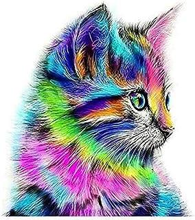 لوحة فنية بتصميم قطة ملونة تزينها بنفسك بمجموعة قطع احجار ماسية خماسية الابعاد لديكور المنزل والحائط مقاس 30×30 سم