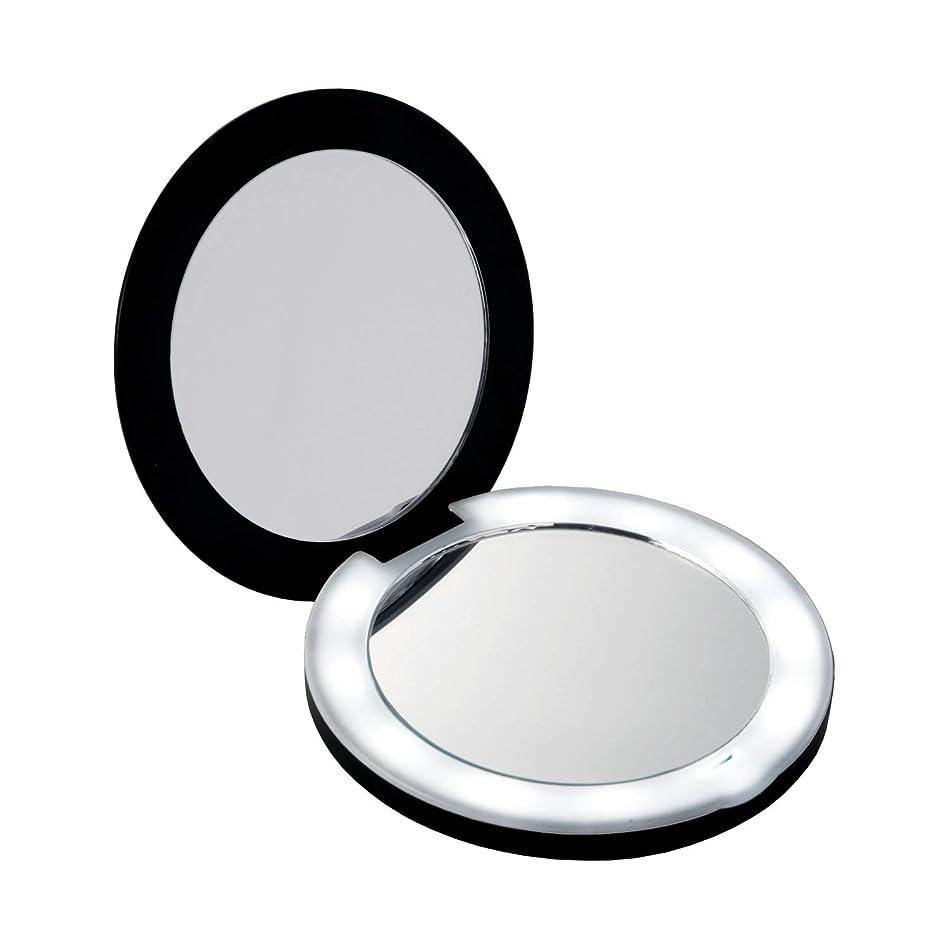 医療過誤エンドウアフリカコモライフ 10倍拡大鏡コンパクト2面ミラー(ライト付) 約直径9×厚み1.5cm