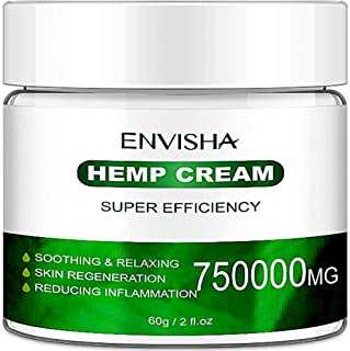 Envisha Hemp Cream for Pain Relief - 750000 Mg - Natural Hemp Extract Cream for Inflammation & Sore Muscles - Efficient Help Joint Relief, Arthritis & Back Pain Support (CS-0A)