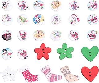 NUOLUX Pacote de botões de madeira para costura e scrapbook infantil DIY Craft Decoração de casamento, Assorted Color,chri...