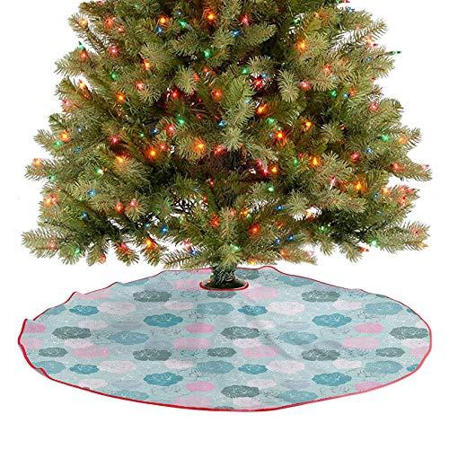 Decoración de falda de árbol, estilo retro, diseño de rosas, siluetas románticas, fantasía de temporada, decoración de Navidad, para fiestas de Navidad, espuma de mar, rosa y blanco, 91,4 cm