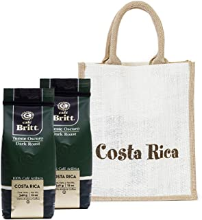 Café Britt - Costa Rican Dark Roast Gift Set (12 oz.) (2-Pack) With Gift Bag - Ground Arabica Coffee, Kosher, Gluten Free, 100% Gourmet & Dark Roast (1 Year Shelf-Life)