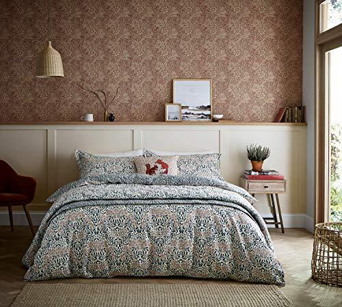 William Morris & Co Michaelmas Daisy Duvet Cover Set Teal & Claret (King Duvet Cover Set)