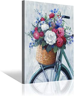 Flower Wall Art Abstract Picture - Pink & White Roses Bunch in The Bicycle Basket Painting Print on Wrapped Canvas for Office (24'' x 18'' x 1 Panel) - Amazon Vine