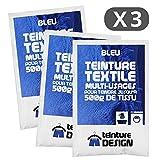 Set de 3bolsas de tinte textil–Azul–Teintures universales para ropa y telas naturales