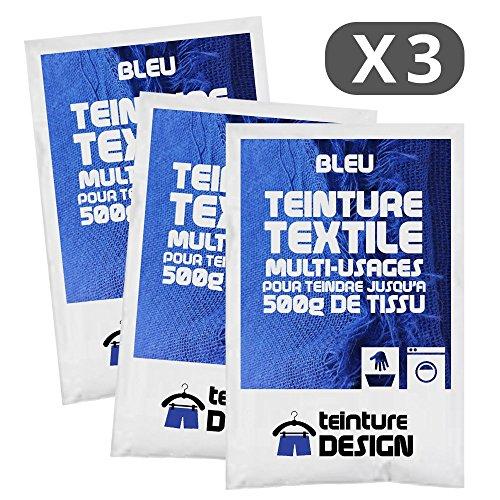 Set de 3bolsas de tinte textil–Azul–Teintures universales para ropa y telas...