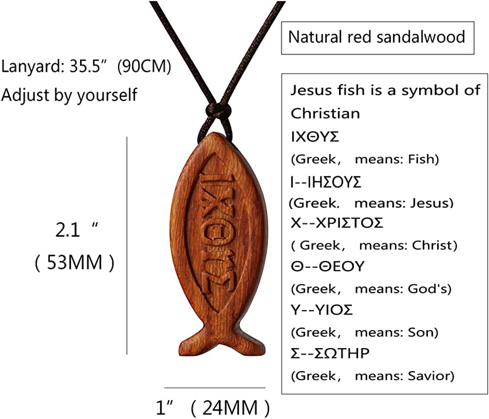 Natural Red Sandalwood Jesus Fish Pendant Necklace for Men Women Boy Girl Children Kids Wood Sign of the Fish Gift Wooden Christian Sweater Chain Car Rearview Mirror Pendant