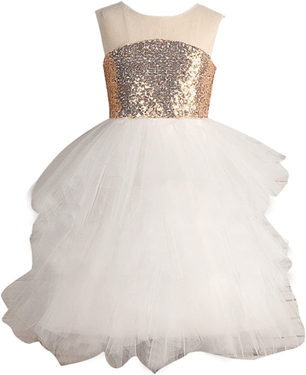 Luxury goods flowerry Champagne Max 77% OFF Sequin Ivory Tutu Pa Dress Birthday Girl
