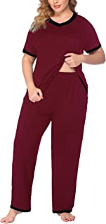 IN'VOLAND Women Plus Size Pajama Sets Short Sleeve Tops and Long Pajama Pants Sleepwear Set with Pockets