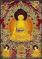 中国の巻物アート Tibetan Thangka Thangkaユニークな仏教伝統的リアルな絵画HDアートコピーキャンバス絵画ポスターウォールホームインテリアタブロービルダー 家の装飾のために掛ける準備ができている風水絵画 (Color : A, Size : 20cmx25cm no frame)