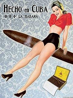 Cuban Cigar Art Print Pinup Girl - Habana, Cuba - Measures 24