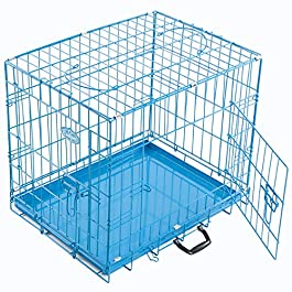 Easipet Foldable Blue Metal Dog Puppy Cage Crate in 4 Sizes