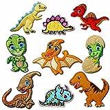 9 parches de dinosaurio para decoración de ropa, para planchar o coser, bordados, parches de triceratops, Tyrannosaurus Stegosaurus Pterodactyl