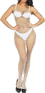 394b875492a LemonGirl Women Fishnet Bodystockings Lingerie Crotchless Strap Bodysuit  Stockings Free Size