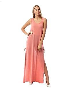 فستان سادة بدون اكمام برقبة دائرية واسعة باربطة جانبية للنساء من جميلة