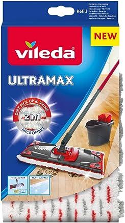 Vileda - Recharge Balai à plat officielle Compatible UltraMax/Ultramat/1.2.Spray - Version 2en1 Microfibre, Blanc et Rouge