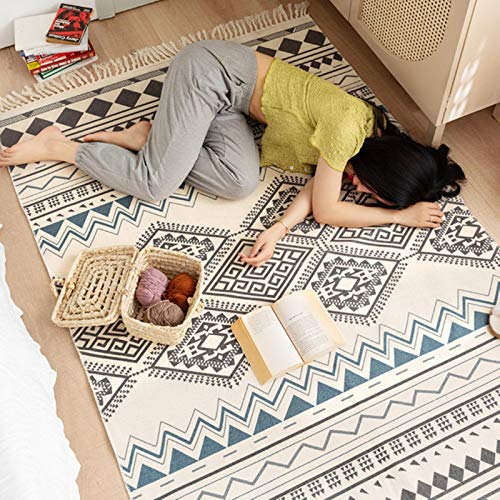 UKKD Area rug Rugs And Carpets For Living Room Retro Cotton Linen Anti-Slip Bedroom Floor Carpet Mat Area Rug Boho For Home Hallway Decoration