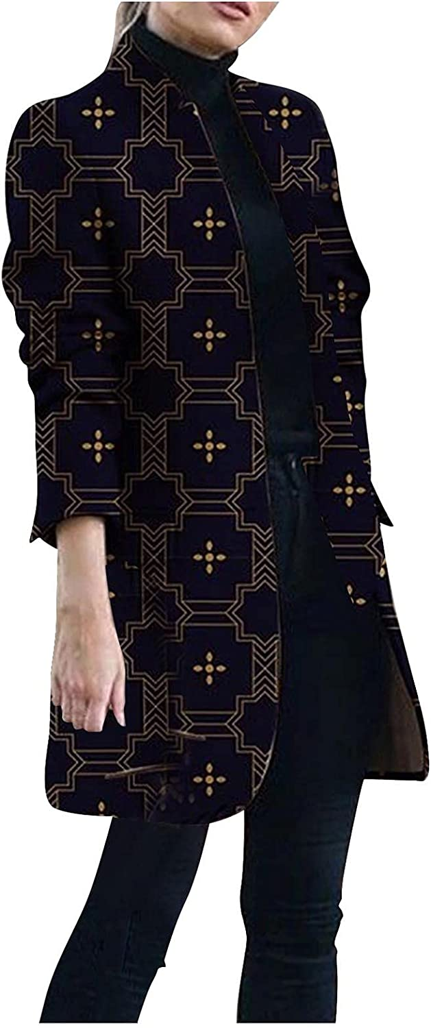 Women's Winter Oversize Stand-Up Collar Woolen Plaid Print Breasted Long Peacoat Woolen Jacket with Pockets