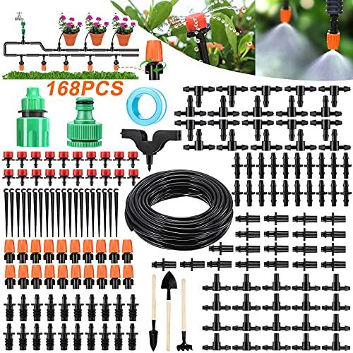 PATHONOR Micro Goccia Irrigazione Kit 15m/50ft Giardino Sistema di Irrigazione Ugello Regolabile Automatico Irrigazione Kit per Esterni Atomizzazione Balcone Raffreddamento Umificazione