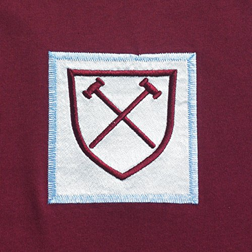 ScoreDraw Men's West Ham United 1966 No6 Retro Football Shirt - Claret and Sky, Large