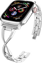 ImmSss Stainless Steel Band Compatible Apple Watch Band 40mm 44mm Iwatch 38mm 42 Women Series 5 4 3 2 1 Accessories Metal Wristband Strap Cuff Bangle Bracelet