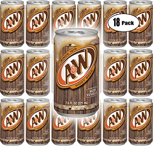 A&W Root Beer, 7.5 Fl Oz Can, (Pack of 18, Total of 135 Fl Oz)