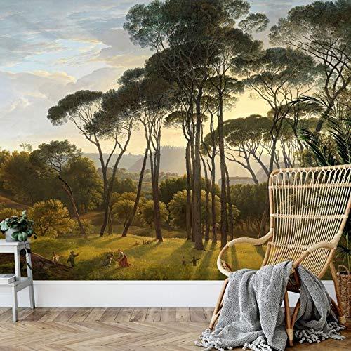 Fotobehang Voogd - Italiaans Landschap met Parasoldennen 288 x 260 cm (bxh) | Hoogwaardige Kwaliteit Vliesbehang | Eenvoudig te Plakken