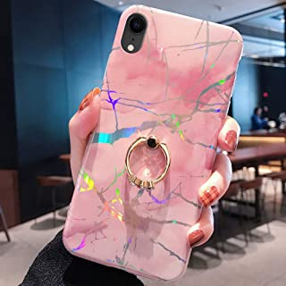 Marble Case for iPhone XR Cover,Girls and Women Diamond Ring Stand Bling Sparkle Laser Aurora Color Marble Design Flexible Soft Rubber Gel TPU Case Cover for iPhone XR Silicone Case,Pink