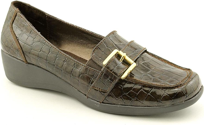 Karen Scott Samor Womens Slip On Wedge Heel Loafer shoes Brown Synthetic Size 6