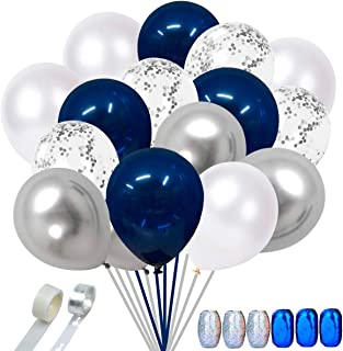 Faylapa 50 Pcs Navy Blue and Silver Confetti Balloons,12 inch Metallic Party Balloons with 1 PCS Balloon Strip and Glue Po...