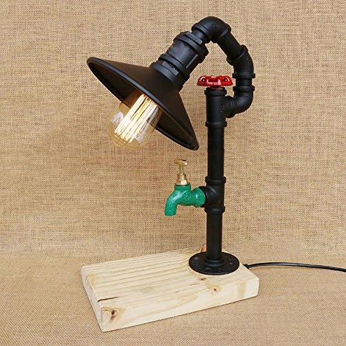 TOYM UK American Vintage Mignon Créatif Personnalité De Mode Chambre Chevet Bar Watertop Base En Bois Lampe De Table