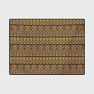 Tribal Boys Girls Baby Kids Children Rugs Geometric Pattern with Origins Exotic Folk Influences for Kids Baby Room Bedroom Nursery Amber Yellow and Black 6.5 x 9.8 Ft
