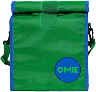 OmieBox Lunch Bag - Washable Velcro Rolltop Reusable Nylon Lunch Tote with Adjustable Strap - 14.5 x 9 Inches (Green)