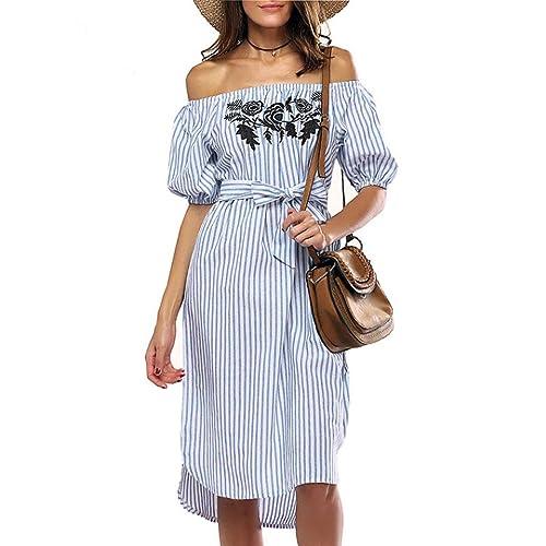 6667781f0eb3 Kavitoz-women dress Clearance!!! Women Off shoulder Strip Dress Short Sleeve  Slash