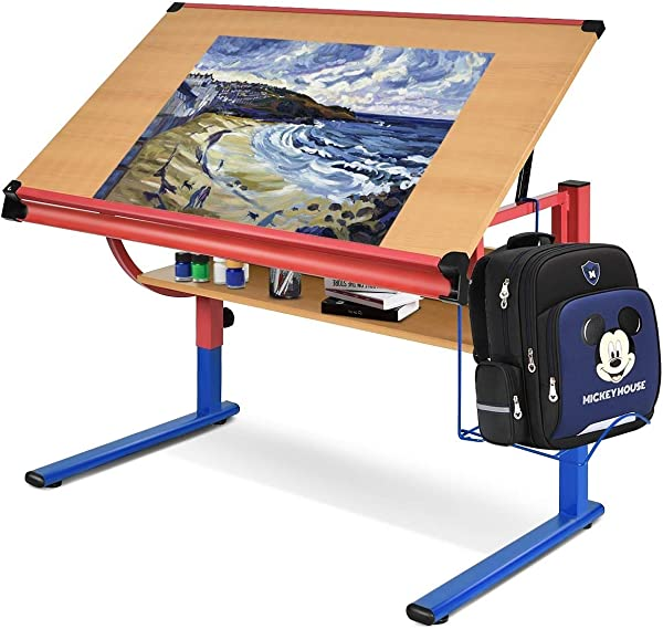 Global Supplies GS 10614 Adjustable Wooden Drafting Table Workstation Drawing Desk