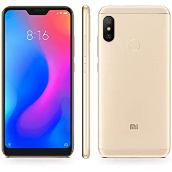 "Xiaomi Mi A2 Lite (64GB, 4GB RAM) 5.84"" 18:9 HD Display, Dual Camera, Android One Unlocked Smartphone - International Global LTE Version (Gold)"
