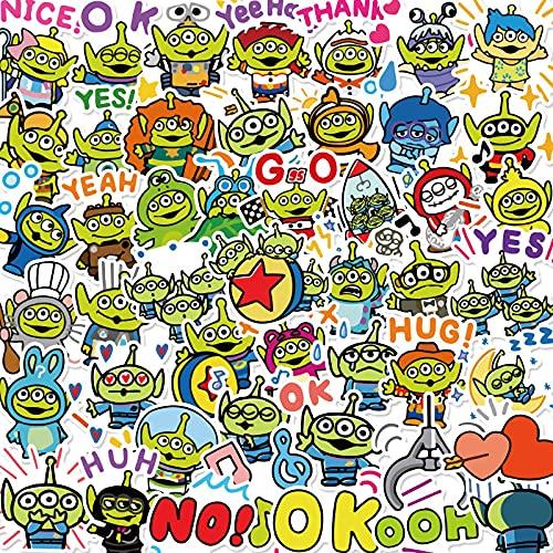 LMY Juguete de dibujos animados Pegatinas Historia Personalizada Pvc Impermeable Etiqueta Lindo Tres Ojos Niño Papelería Agua Copa Cuaderno Decoración Mano Cuenta Etiqueta 50pcs