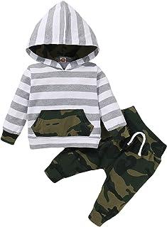 Newborn Baby Boy Hoodie Set Long Sleeve Sweatsuit Tops+ Camo Pants Toddler Kids Winter Outfits