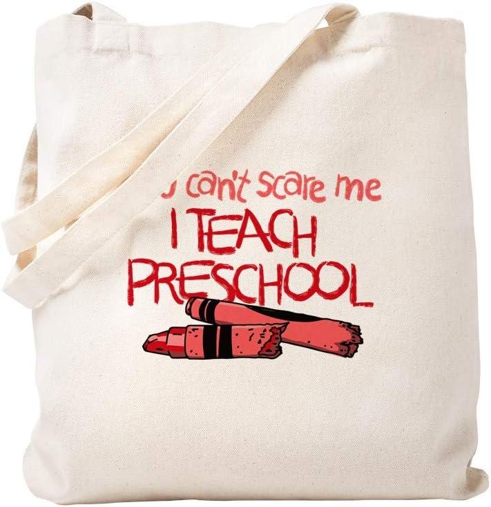 CafePress You Can't Scare Me I Teach Preschool Tote Bag Natural Canvas Tote Bag, Reusable Shopping Bag