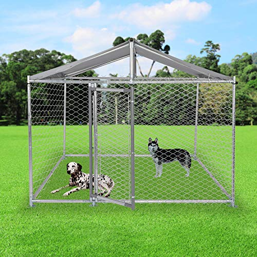 LONABR Metal Dog Playpen Exercise Fence Barrier Playpen Kennel Lockable Chain Link Kennel with/Without Water-Resistant Cover,Heavy Duty Outdoor Cage Kennel Fence for Large Dogs (6.5x6.5x5ft)