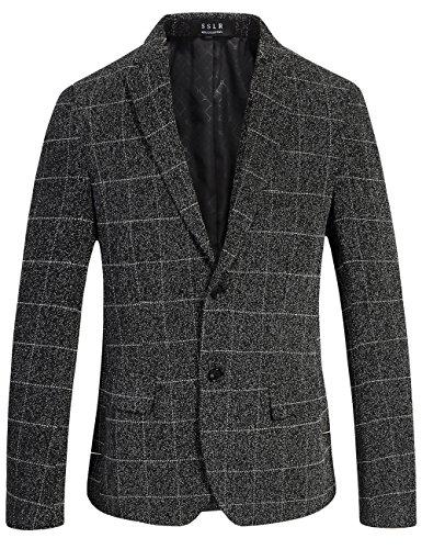SSLR Blazer Americana Jaspeada a Cuadros Casual Elegante para Hombre (Medium, Gris)