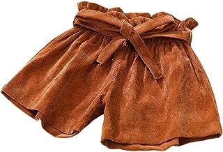 (ビメイゴー) Bmeigo ショートパンツ 女の子 キッズ ハーフパンツ ウエストゴム サッシュベルト付き ハイウエスト 純色 短パン 女児 半ズボン 春夏 ショーパン ベビー 子供服 可愛い おしゃれ