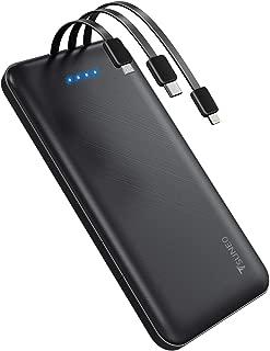【最新版】 軽量 薄型 モバイルバッテリー 10000mAh 大容量 3ケーブル内蔵(Lightning+Micro USB+Type-Cケーブル内蔵) 1USBポート 4台同時充電でき 急速充電 バッテリー スマホ充電器 携帯 持ち運び便利 残量表示 スタンド機能搭載 PSE認証済 iPhone/iPad/Android対応