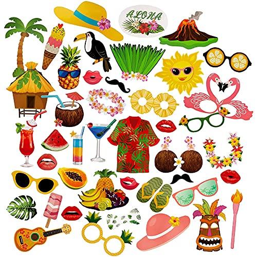 Accesorios para FotomatóN para Fiestas De Verano con TemáTica De Hawaii, Accesorios para FotomatóN con Palos Y Pegamento para Vacaciones, Bodas, CumpleañOs De NiñOs, Festivales De Verano (44 Piezas)