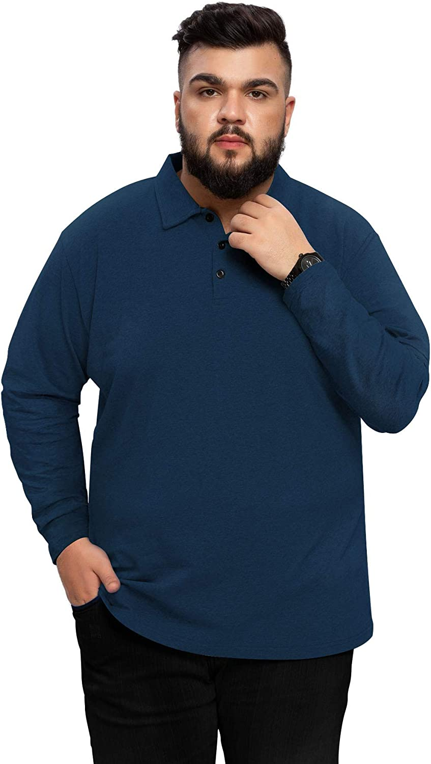 Aiyino Men's Big and Tall Classic Fit Short/Long Sleeve Solid Soft Cotton Polo Shirt