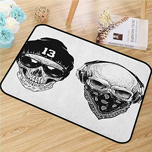 Skull Inlet Outdoor Door mat Funny Skull Band Dead Street Gangs with Bandanna Hood Rapper Style Grunge Print Catch dust Snow and mud W15.7 x L23.6 Inch Black White