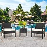 Dawns Juego de muebles de jardín de polirratán para 2 personas, 1 mesa y 2 sillones, mesa baja con espacio de almacenamiento, resistente a la intemperie, balcón y terraza (negro)